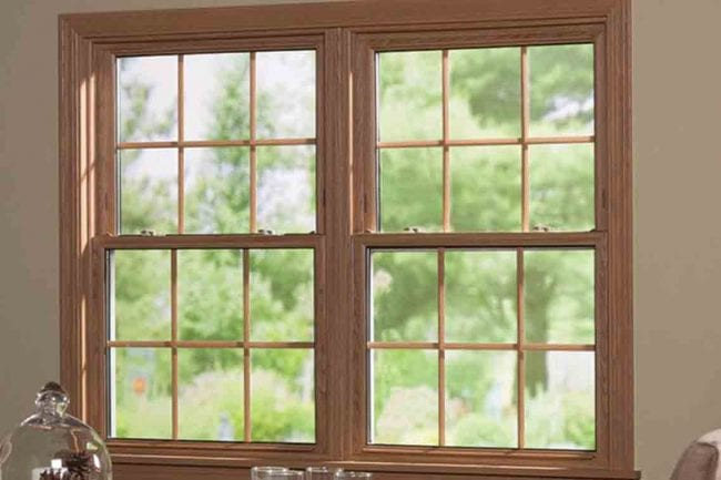 Transparent glass window with wooden frame