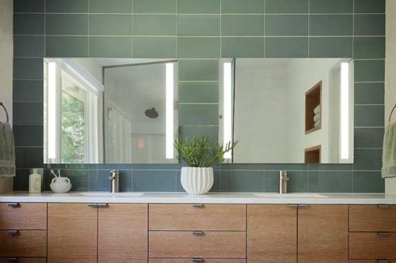 Modern bathroom interior with double basic and glass mirror put on wall