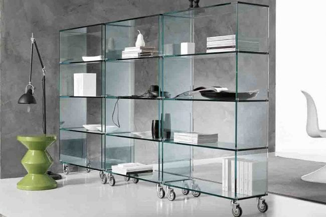 Toughened Glass Shelves in middle of a modern office