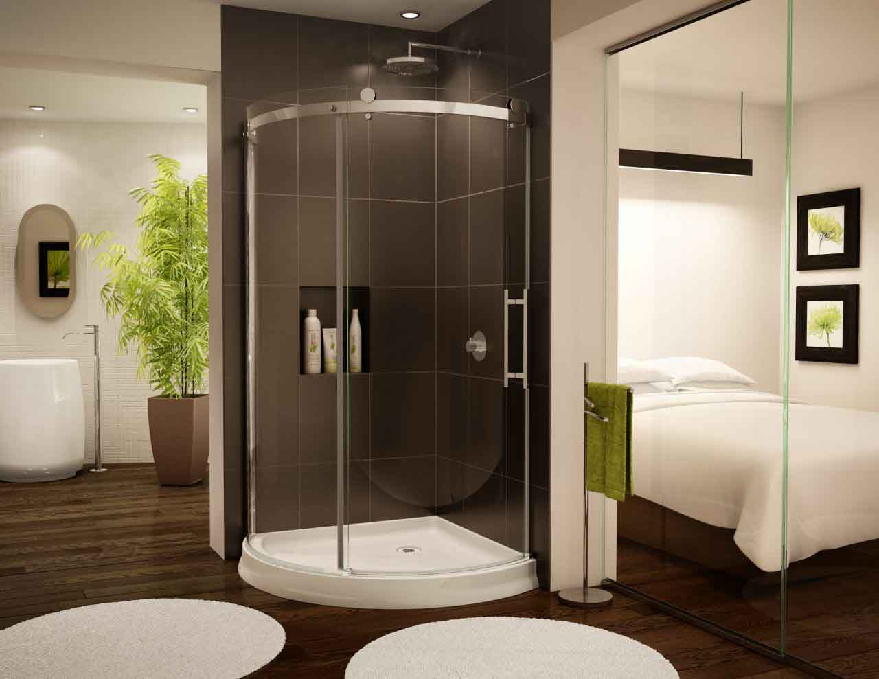 Luxurious bedroom with attached bathroom having frameless shower screen