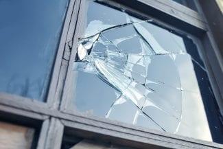Broken glass of old window