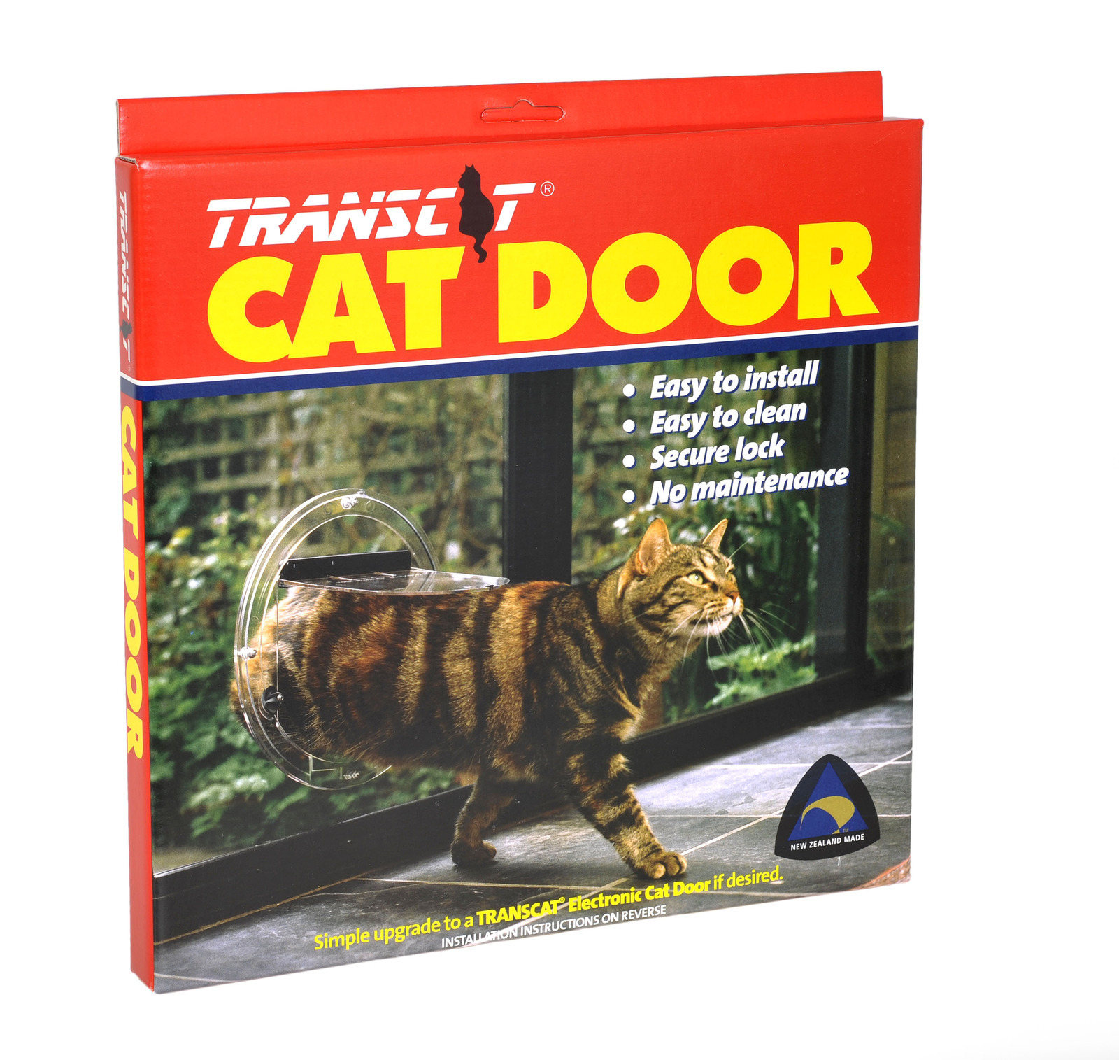 Transcat brand cat door box on white background