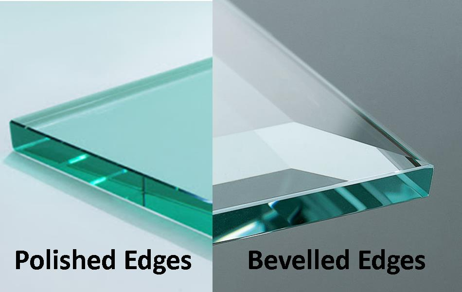 Grid image of polished edges and bevelled edges glass