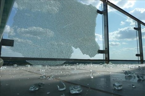 Close up image of shattered Balustrade Glass